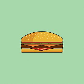 Cute Cartoon Cheeseburger With Bacon. Burger With Ham, Tomatoes, Cutlet, Pickle. Minimalist Line Sty