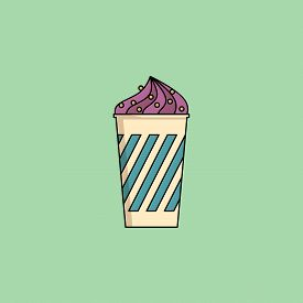 Cute Cartoon Blueberry Icecream In Cup With Candy Sprinkling. Sundae Flat Icon On Green Background.
