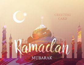 Ramadan Mubarak. Month Of Fasting. Template For Creative Greeting Card, Arabic Celebration. Islamic