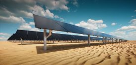 Modern Black Solar Panel Of A Photovoltaic Power Plant In A Desert Environment In Sunny Weather. 3d