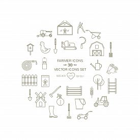 Farmer, Gardeninng Tools Icons Set On Isolated  Background. 20 High Quality Simple Linier Icons. Vec