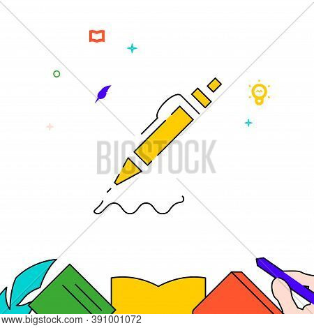 Ballpoint Pen With Button Filled Line Vector Icon, Simple Illustration, Education And Creativity Rel