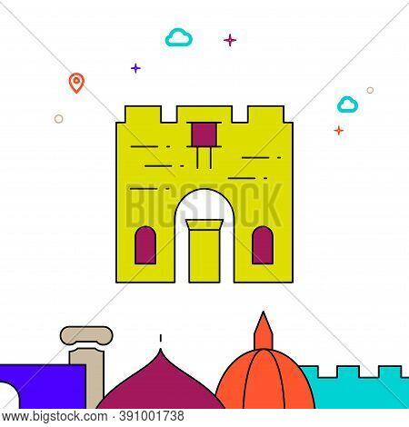 Old City, Jerusalem Filled Line Vector Icon, Simple Illustration, World Landmarks Related Bottom Bor