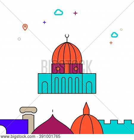 Dome Of The Rock, Jerusalem Filled Line Vector Icon, Simple Illustration, World Landmarks Related Bo