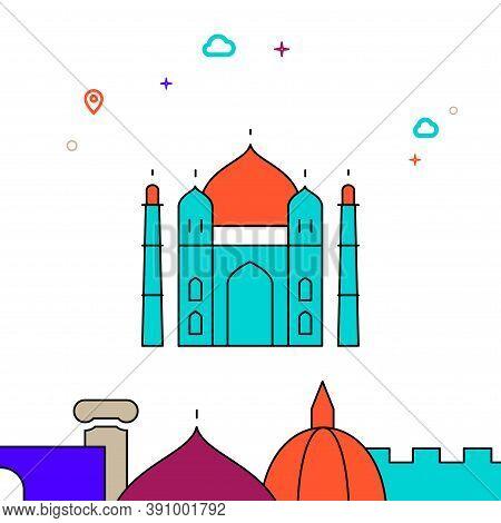 Taj Mahal, India Filled Line Vector Icon, Simple Illustration, World Landmarks Related Bottom Border