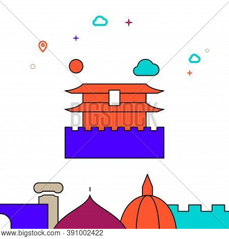 Forbidden City, Beijing Filled Line Vector Icon, Simple Illustration, World Landmarks Related Bottom