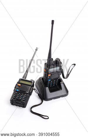 Black Walkie-talkie Radio Communication Device Isolated On White