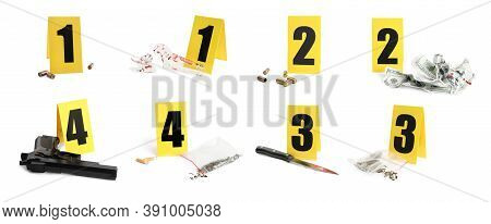 Crime Scene Investigation. Set Of Evidence Identification Markers And Clues On White Background