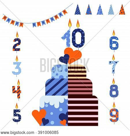 Blue And Orange Birthday Cake With Delicious Filling. Birthday Hats, Candles And Cake With Hearts.