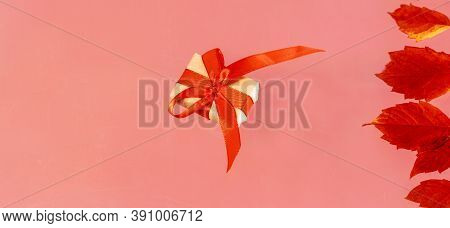 Banner Gift Box On Pink Background With Autumn Leaves Holiday Concept Top View Copy Space For Text