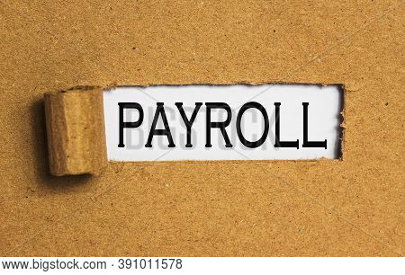 The Text Payroll Behind Torn Brown Paper