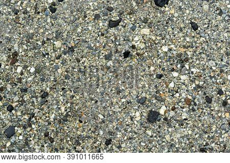 Rough Concrete Path With Medium Pebble Stones Pattern Texture Top View