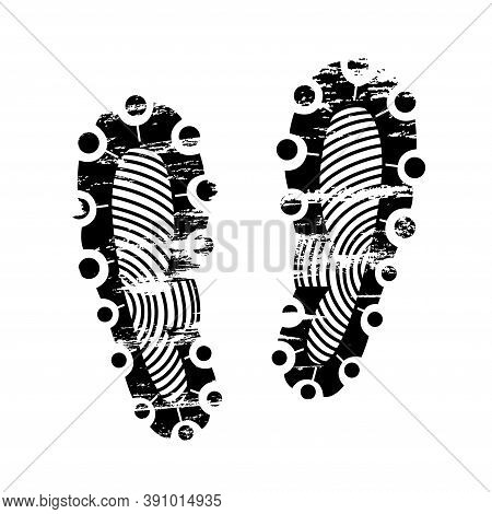Pair Footprints Human Shoes Silhouette. Shoe Soles Print. Vector Footstep Icon, Isolated Footstamp O