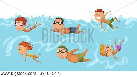 Childrens Swimming In Pool. Cheerful And Active Little Boys And Girls Swimming In Pool. Boys And Gir