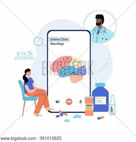 Brain Vector Logo For Online Clinic. Medical App On Phone. Chat And Consultation With A Doctor. Hypo