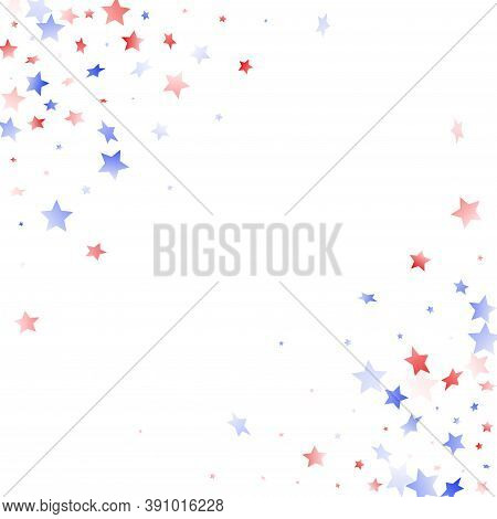 American Presidents Day Stars Background. Confetti In Usa Flag Colors For Independence Day. Simple R