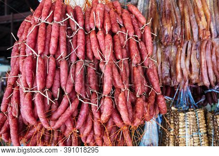 delicious smoked sausage in a street market