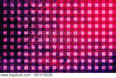 Red Black Pink Checkered Background With Blur, Gradient And Grunge Texture. Space For Graphic Design