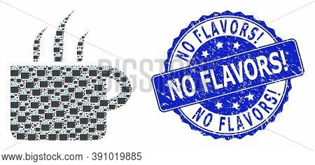No Flavors Exclamation Corroded Round Seal And Vector Recursion Collage Aroma Cup. Blue Seal Contain