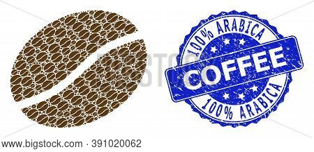 100 Percent Arabica Coffee Grunge Round Stamp Seal And Vector Recursive Collage Coffee Bean. Blue St