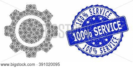100 Percent Service Corroded Round Stamp Seal And Vector Fractal Mosaic Cog Wheel. Blue Stamp Seal C