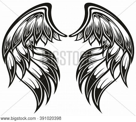 Pair Of Spread Out  Bird Or Angel Wings. Tattoo Wings