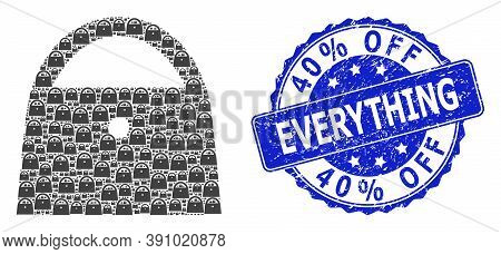 40 Percent Off Everything Scratched Round Stamp Seal And Vector Fractal Collage Lady Bag. Blue Seal