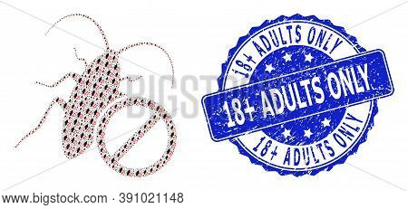 18 Plus Adults Only Rubber Round Seal And Vector Recursion Collage No Cockroach. Blue Seal Contains