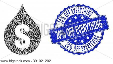 20 Percent Off Everything Dirty Round Seal And Vector Recursive Mosaic Oil Drop Price. Blue Stamp Se
