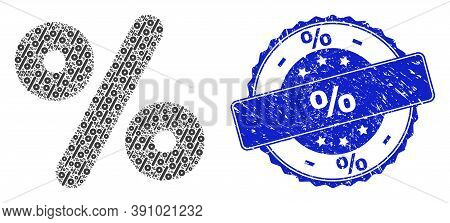 Percent Grunge Round Seal Print And Vector Fractal Mosaic Percent. Blue Stamp Seal Includes Percent