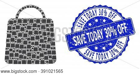 Save Today 30 Percent Off Textured Round Stamp Seal And Vector Recursive Mosaic Shopping Bag. Blue S