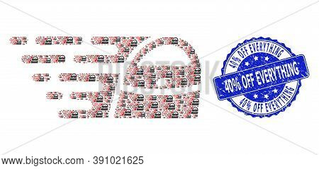 40 Percent Off Everything Textured Round Stamp Seal And Vector Recursive Composition Shopping Bag. B