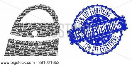 15 Percent Off Everything Rubber Round Stamp Seal And Vector Fractal Mosaic Shopping Bag. Blue Stamp