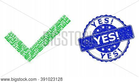 Yes Exclamation Scratched Round Stamp And Vector Recursive Collage Yes Tick. Blue Stamp Contains Yes