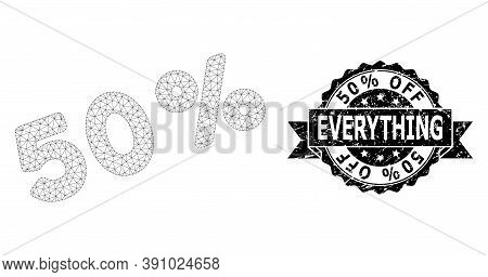 50 Percent Off Everything Unclean Stamp Seal And Vector 50 Percents Mesh Structure. Black Stamp Seal