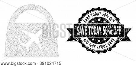 Save Today 50 Percent Off Scratched Stamp Seal And Vector Airport Shopping Mesh Structure. Black Sta