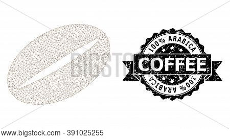100 Percent Arabica Coffee Unclean Stamp Seal And Vector Coffee Bean Mesh Structure. Black Stamp Has