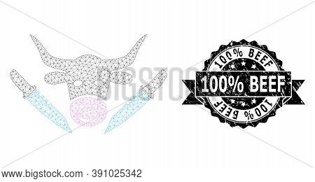 100 Percent Beef Corroded Stamp Seal And Vector Cow Butchery Mesh Model. Black Stamp Contains 100 Pe