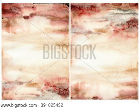 Watercolor Abstract Background With Red, Pink, Beige And Yelllow Spots. Hand Painted Pastel Illustra