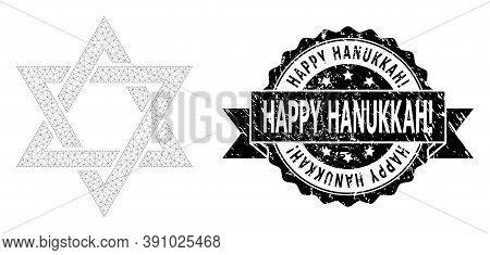 Happy Hanukkah Exclamation Grunge Stamp And Vector David Star Mesh Model. Black Stamp Seal Has Happy
