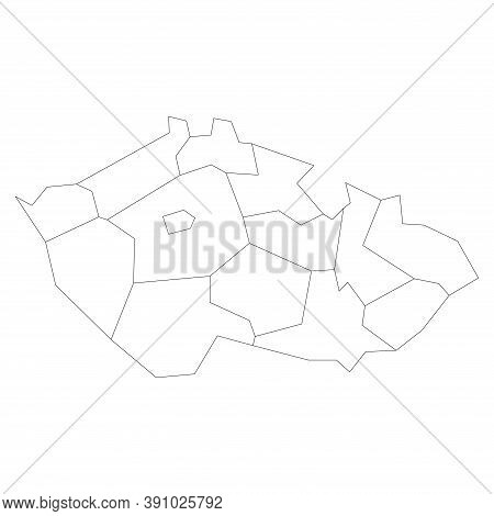 Regions Of The Czech Republic. Map Of Regional Country Administrative Divisions. Blank Black Outline