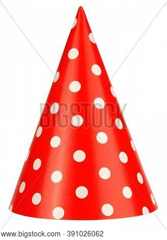 Lovely Birthday or dwarf hat made of paper isolated on white background