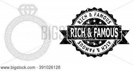 Rich And Famous Scratched Seal And Vector Gem Ring Mesh Model. Black Seal Has Rich And Famous Tag In
