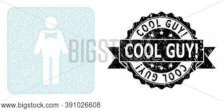 Cool Guy Exclamation Unclean Seal Print And Vector Groom Mesh Structure. Black Seal Includes Cool Gu