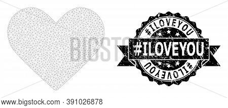 Hashtag Iloveyou Textured Seal And Vector Love Heart Mesh Structure. Black Stamp Has Hashtag Iloveyo