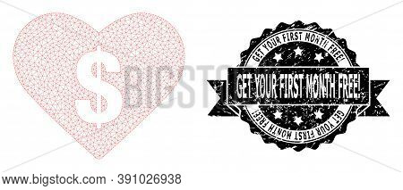Get Your First Month Free Exclamation Dirty Stamp And Vector Love Price Mesh Model. Black Seal Has G