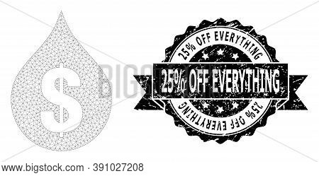 25 Percent Off Everything Dirty Seal And Vector Oil Drop Price Mesh Structure. Black Stamp Includes