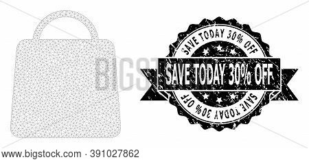 Save Today 30 Percent Off Textured Stamp Seal And Vector Shopping Bag Mesh Structure. Black Seal Inc