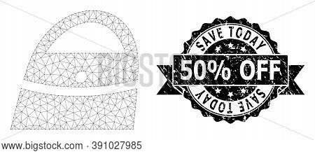 Save Today 50 Percent Off Corroded Stamp Seal And Vector Shopping Bag Mesh Model. Black Stamp Contai