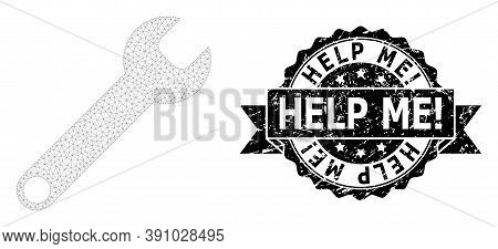 Help Me Exclamation Dirty Stamp And Vector Spanner Mesh Structure. Black Stamp Contains Help Me Excl